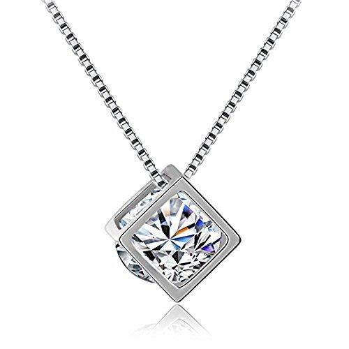 - KOREA-JIAEN 14K Whiter Gold Plating Sterling Sliver Love Magic Cube Zircon Pendant Necklace