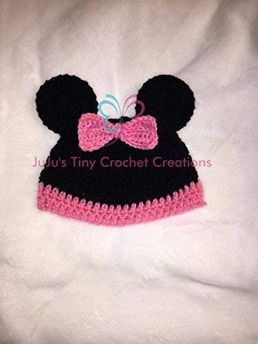 Amazon com: Crocheted Handmade Baby Newborn Girl Mouse Hat