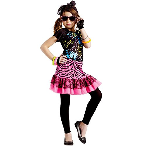 [Girls 80's Pop Star Decade Halloween Costume Large 4-6] (Costumes Ideas For 4)