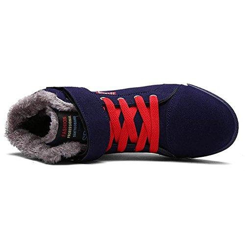 Herren High-Top Warm Gefütterte Schneestiefel Winterstiefel Outdoor Sneakers Winterschuhe Boots Dunkel Blau
