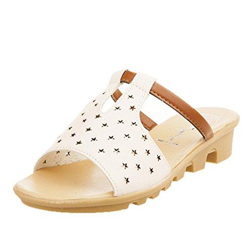 bescita Frauen Hausschuhe Weiblich Sandalen Fashion Solid Sommerstrand gleitet Schuhe (38, Beige)
