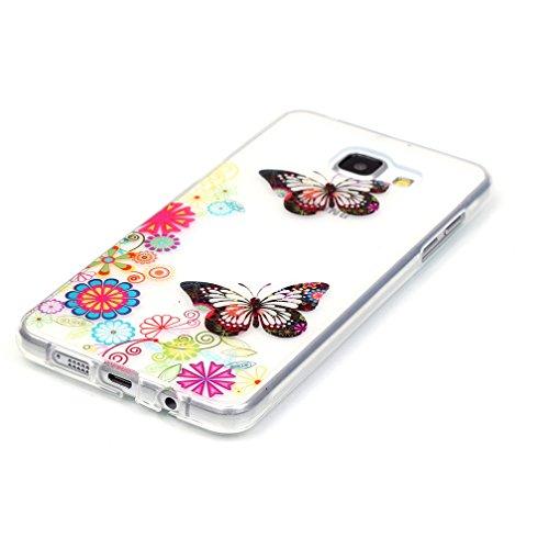 XiaoXiMi Funda de Silicona para Samsung Galaxy A5 2016 SM-A510F Carcasa Transparente Soft Silicone Cover Clear Case Funda Protectora Carcasa Blanda Caso Suave Flexible Caja Delgado Ligero Casco Anti R Mariposas Coloridas