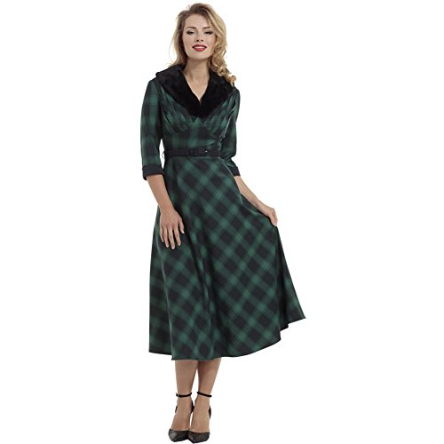 Voodoo-Vixen-Lola-Plaid-Flare-Dress-With-Removable-Fur-Collar-Green