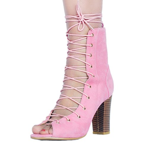 Ladies Thick Shoes Toe Peep Crosscriss Party Sweet Suede Heel Handmade Pink Pumps Kolnoo StUqdS
