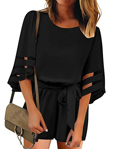 GRAPENT Women's Black Casual Belted Mesh Panel 3/4 Sleeves Romper One-Piece Jumpsuit Large (Fits US 12-14) Black Belted 3/4 Sleeve