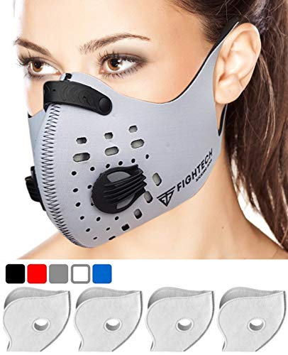 Tank Gas Mask - Fightech Dust Mask | Respirator Mouth Mask with 4 Carbon N99 Filters for Pollution Pollen Allergy Woodworking Mowing Running |Washable and Reusable Neoprene Half Face Mask for Dust and Outdoor (WHT)