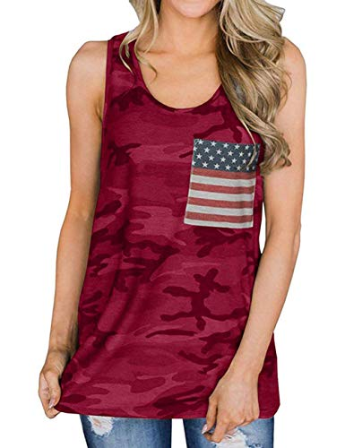 GINVELL Women's American Flag Tank Tops 4th of July Loose Sleeveless Camouflage Tunic Patriotic USA T Shirts