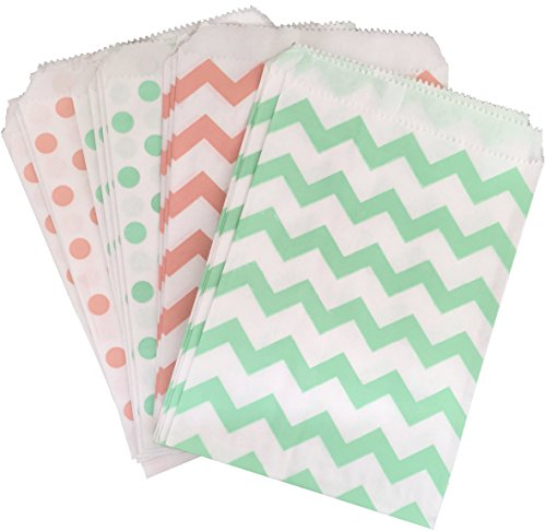 outside-the-box-papers-polka-dot-paper-treat-sacks-55-x-75-48-pack-peachmint-white