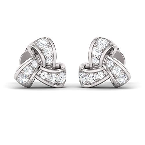 Diamondere Natural and Certified Diamond Trinity Knot Earrings in 14K White Gold | 0.45 Carat Stud Earrings for ()