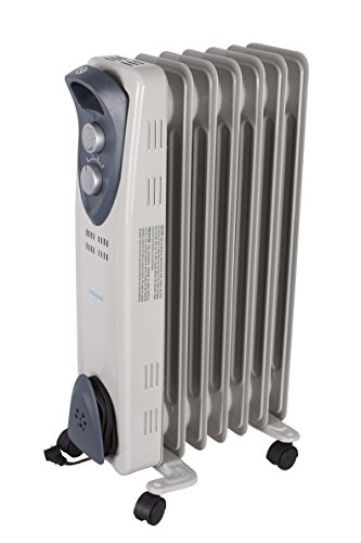 Viasonic XL 1500W Electric Portable Oil Filled Radiator Heater - XL 7 Fin - Multi-Setting - ETL Listed - Light Gray Oil Filled Heaters Promo Power Group