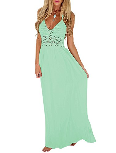 LILBETTER Women's Beach Crochet Backless Bohemian Halter Maxi Long Dress (L, Light Green)