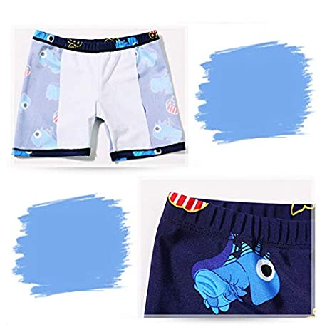 Boys Summer Swimsuit,Tops Pants Caps Cartoon Printing Swimwear Bathing Trunks