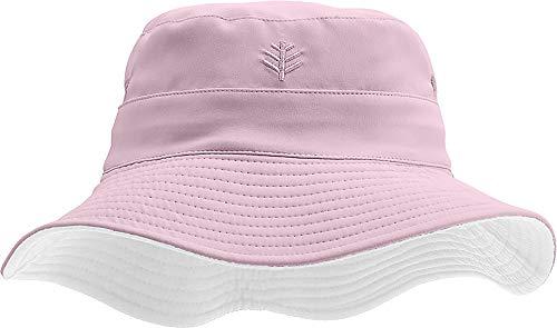 (Coolibar UPF 50+ Kids' Reversible Bucket Hat - Sun Protective (Small/Medium- Dusty Mauve/White))
