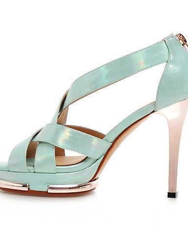ShangYi Women's Shoes Leatherette Stiletto Heel Heels Sandals Casual Black / Blue / Pink Black kvWAuP4ka
