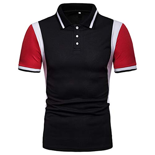 Yucode Fashion Men Short Sleeve Lapel Patchwork Shirts Casual Formal Slim Fit Shirt Top Blouse