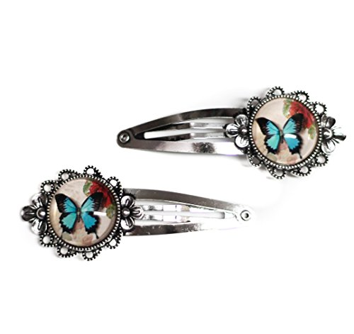 Blue Butterfly 20mm Glass Cameo Silver Snappy Clips Set of (Rock & Roller Glasses Silver And Blue)