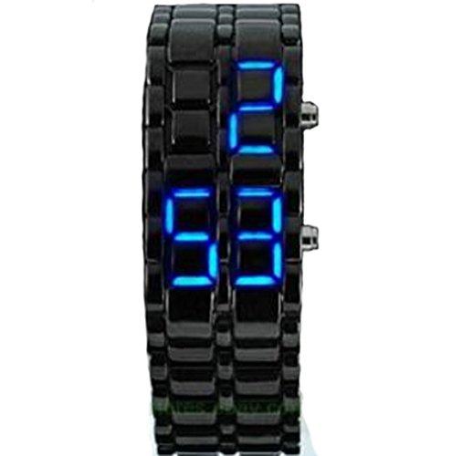 Hot Metallic Black Lava Faceless Blue LED Volcanic Men Lady Bracelet Wrist Watch