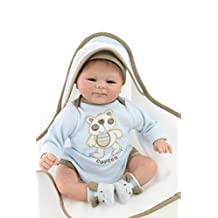 SanyDoll Reborn Baby Doll Soft Silicone 18inch 45cm Magnetic Mouth Lovely Lifelike Cute Boy Girl Toy Lovely Blue Baby