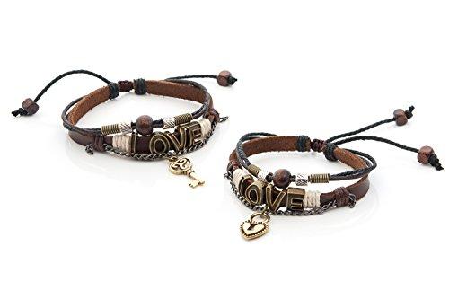 - SisFrog Love Infinity Couples Bracelets Layers Vintage Leather Bracelet Dangling Key & Lock Pendant Boyfriend Girlfriend Friendship Relationship Couples His & Hers