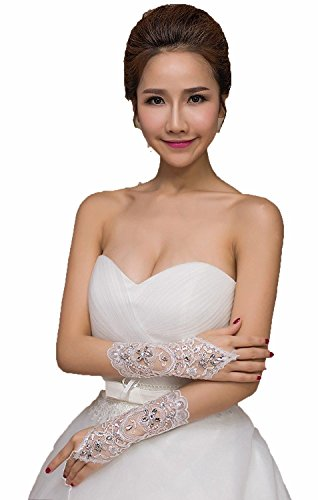 BEALEGAN Lady Beaded Fingerless Wedding Gloves Lace Embroidered Bridal Gloves (One Size, White)