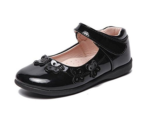 - Bumud Girl's Patent Leather Ballerina Flat Wedding Dress Shoes Kids Party Dance Butterfly Mary Janes (11 M US Little Kid, Black)