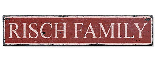 Risch Family - Custom Risch Family Last Name Distressed Handmade Wooden Sign - 7.25 x 36 Inches ()