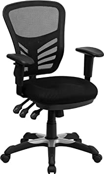 Offex HL-0001-GG Mid-Back Chair with Triple Paddle Control - Black Mesh