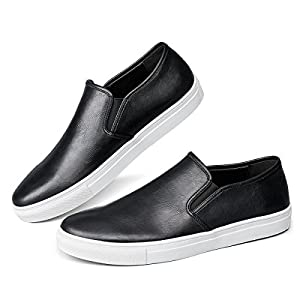 Men's Black Fashion Sneaker Casual Leather Slip On Loafer Shoes