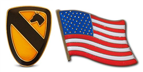 Patriotic U.S. First Cavalry Divison & American Flag Lapel or Hat Pin & Tie Tack Set with Clutch Back by Novel Merk