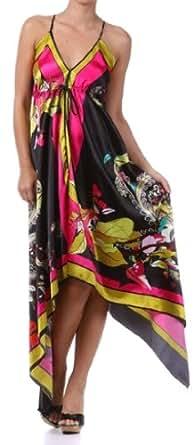 Floral Cherry Design Silk Feel Handkerchief Hem Criss Cross Back - Long Dress/pink/one size