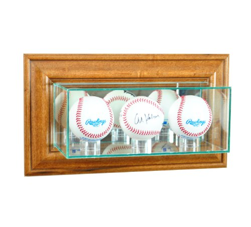 (Perfect Cases MLB Wall Mounted Triple Baseball Glass Display Case, Walnut)