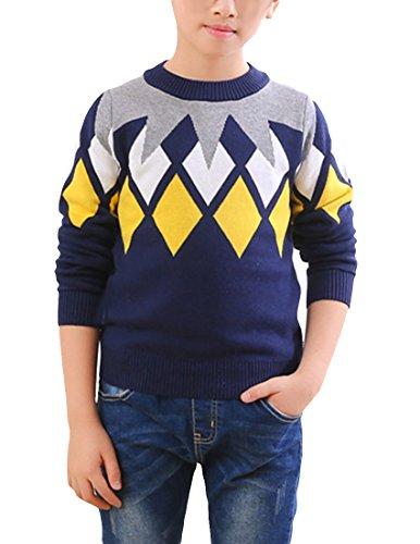 MFrannie Boys Argyle Plaid Crew Neck Long Sleeve Thick Knits Sweater Royal Blue 4T ()
