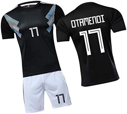 メンズアルゼンチンサッカージャージーオタメンディ17#、男性と女性に適したユースプレーヤーホームジャージー、素晴らしい素材2ピース-タンク