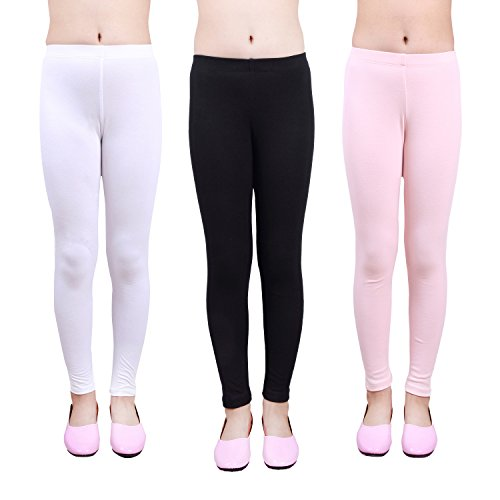 IRELIA Girls Leggings 3 Pack Cotton Solid Size 4-16 Spring/Fall 04 L