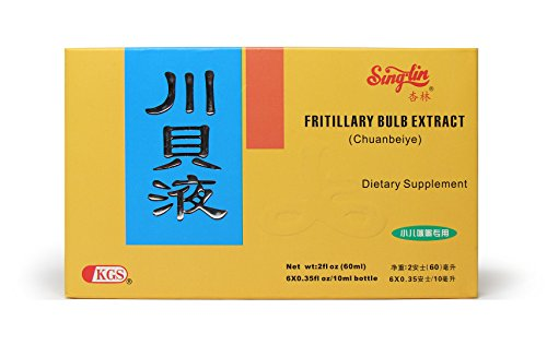 Singlin Fritillary Bulb Extract Chuan Bei Ye Sweet Oral Liquid for Children Herbal Supplement Stops Cough 6 Vials Bulb Extract