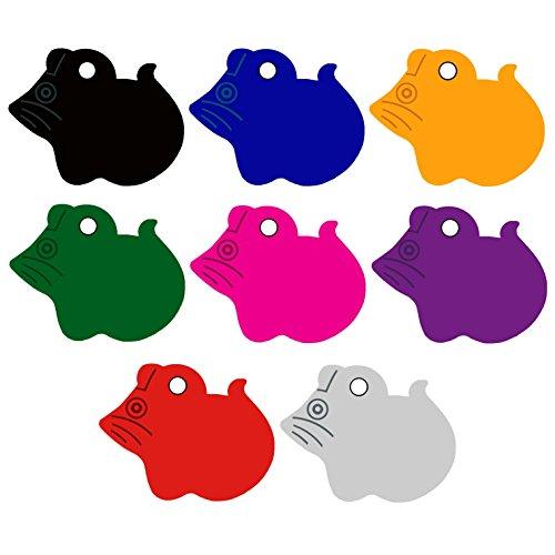 CNATTAGS Pet ID Tags Mouse Shape, 8 Colors, Personalized Premium Aluminum (Silver Color) ()