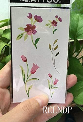 5pcs Tatuaje Impermeable Etiqueta engomada Rosada de la Flor de ...