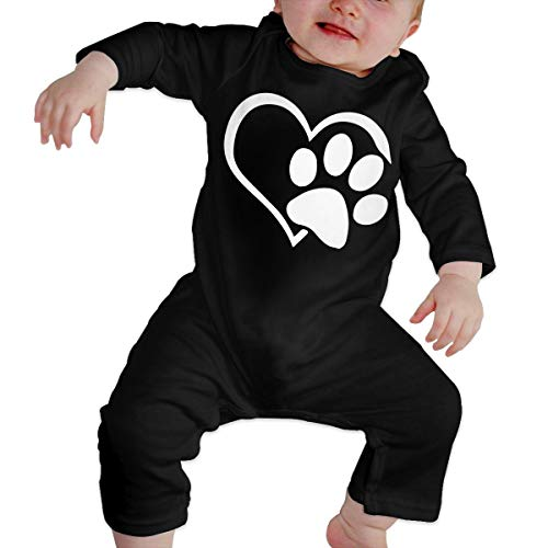 Animal Lover Dog Paw Long Sleeve Infant Romper Jumpsuit Onsies 6-24 Months Baby Bodysuit Black ()