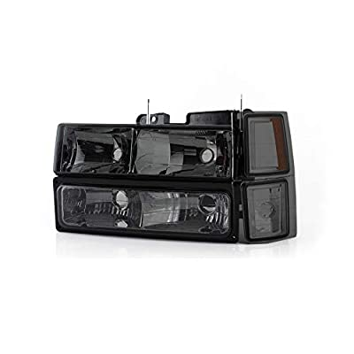 For 1994-98 Chevy C/K 1500/2500/3500 Tahoe Suburban Full Size C10 Headlights LH/RH Smoke Headlamp Pair: Automotive