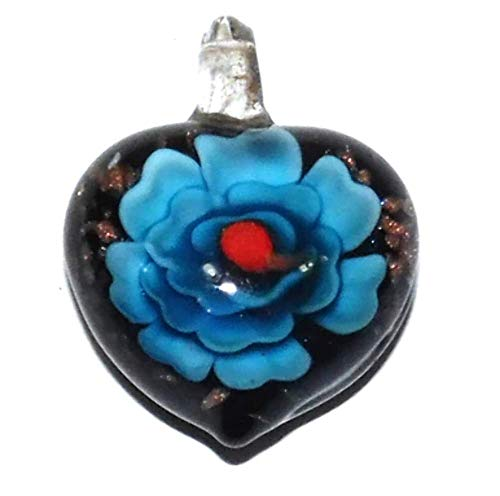 Vintage Puffy Lampwork Art Glass Heart Shaped Necklace Pendant with Encased Flower