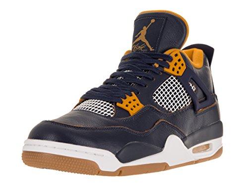 Nike Herren Air Jordan 4 Retro Turnschuhe Azul / Amarillo / Blanco (Mid Nvy / Mtllc Gld-Gld Lf-White-)