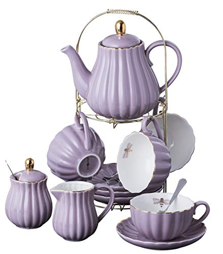 Jusalpha Fine China Pink Coffee Cup/Teacup, Saucer, Spoons, Teapot and Creamer set, 17-Pieces (FD-TW17PC SET, Purple)
