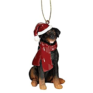 Design Toscano Christmas Xmas Rottweiler Holiday Dog Ornaments, Full Color 2