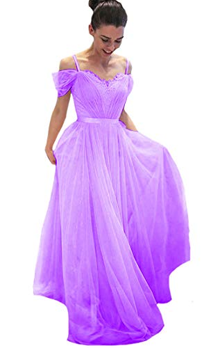 Lilyla Long Prom Dresses Off The Shoulder A-line Lace Tulle Evening Gown Lilac US18W -