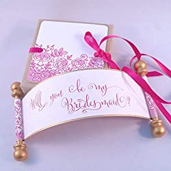 Will you be my Bridesmaid lace wedding invitation mini scroll, in fuchsia and gold, gift boxed