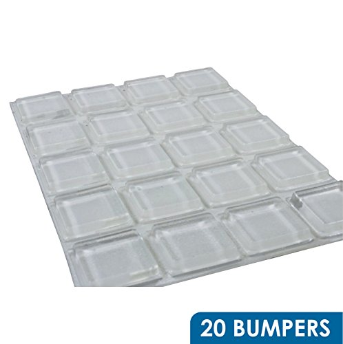 Rok Hardware 20 Pack of Large Clear Square Self-Adhesive Rubber Pad Bumpers 1