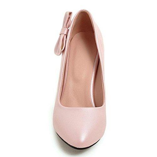 corte alto tacón lazo confortables rosa de para con TAOFFEN Zapatillas mujer y zapatos de 1waqvfgxWA