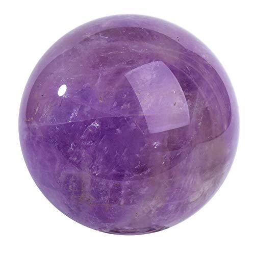 FENGJJ Amethyst Crystal Ball - Natural Quartz Handmade Art Raw Gemstone Polished, for Birthday Gifts, ()