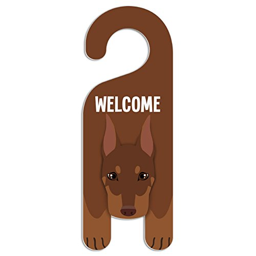 (Red Doberman Pinscher Dog Do Not Disturb Plastic Door Knob Hanger Sign - Welcome)