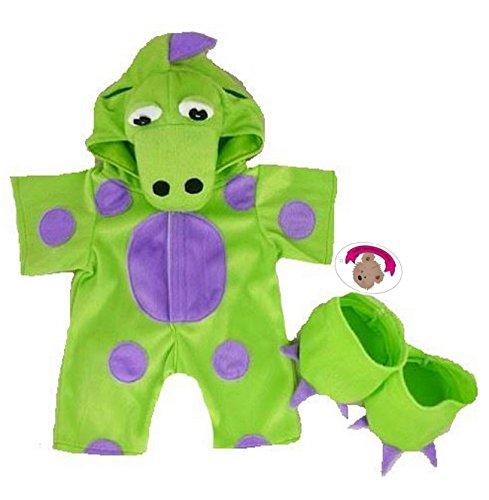 Build your Bears Wardrobe 15-Inch Clothes Fit Build Bear Teddies My Green Dinosaur Costume -